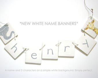 Name Banner, Custom name banner, wooden name banner, create a name banner, art for kids, nursery art, animals, hearts, stars, art, banner
