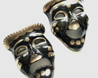 Vintage Brass/Black Comedy Tragedy Drama Theater Mask