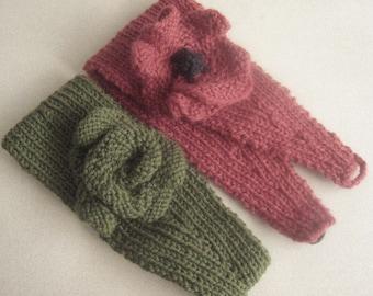 "Knitting Pattern ""Blossom"" Flowered Head Band"