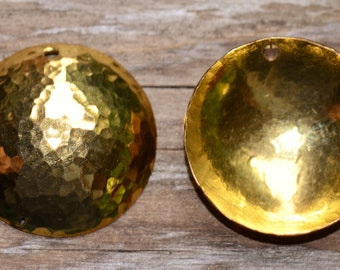 2 Artisan Hammered Solid Brass Domed Dangles, 23mm Fine Hammered