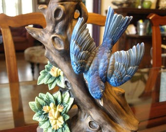 Lionstone Whiskey Sculpted Porcelain Decanter of Blue Bird in Tree dated 1972 - 1/5 Gallon – Empty – Very Rare