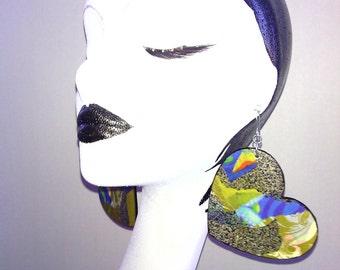 Wooden Heart Earrings Embellished with Beautiful Paper, Womens Earrings, Handmade Earrings, Womens Jewelry, Ladies Earrings Large Earrings