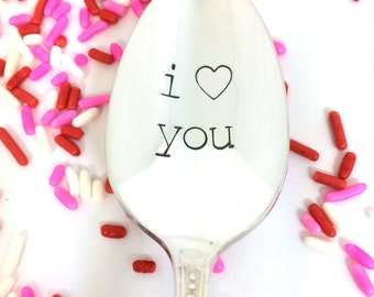 I love you stamped spoon, Hand Stamped Spoon, coffee spoon, gift for her, valentine's day gift, love, girlfriend gift, anniversary gift
