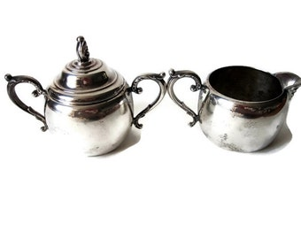 Vintage Rogers Silver Creamer and Sugar Bowl/ 1940s Silver Plate