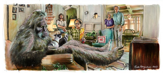 """Harry and the Hendersons - He Didn't Care for the Blue Cheese  5""""x11"""" Poster Print"""