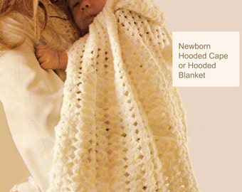 Baby Crochet Pattern, Hooded Baby Blanket Crochet Pattern, Newborn Crochet Pattern, Baby Shower Gift, INSTANT Download Pattern PDF (1314)