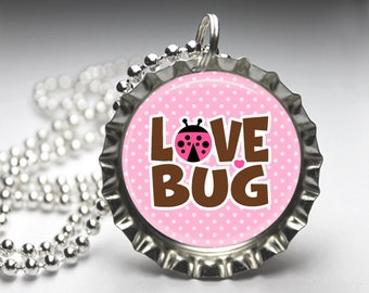 Pink Love Bug Bottlecap Pendant Necklace - Free Ball Chain Necklace - Resin Necklace - Daddy's Little Girl - Mommy's Little Girl