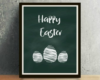 Happy Easter - Easter Print, Easter Art, Chalkboard Art, Easter, Easter Download, Black and White, Happy Easter Print, Spring Art, Spring
