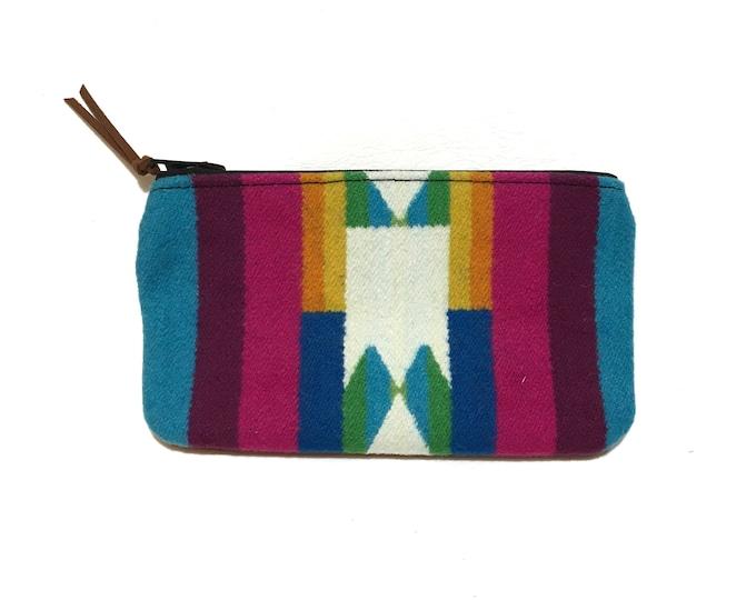 Bright wool & leather zipper card wallet