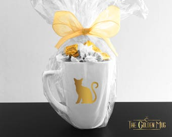 Gold Cat Mug With Real Gold Foil and 25 Caramel Candies - Sassy Cat Mug In Gold - Shiny Cat Cup Kitty Cat Mug - Gold Kitty Mug Candy Gift