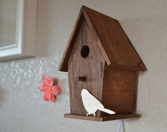 Rustic Woodland Nursery Birdhouse Nightlight