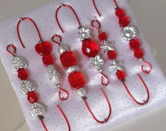 Ornament Hangers- Stardust and Red Beads and Wire - FREE SHIPPING
