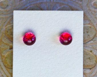 Dichroic Glass Earrings, Petite, Magenta DGE-1333