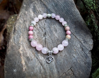 Loving Heart - Rose Quartz and Rhodonite bracelet - heart chakra jewelry - healing stones and crystals