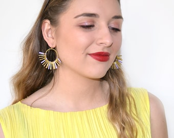 """Fringe Lavender and Golden earrings, Half Moon, Circle, Fan gold plated 3 µ high quality french hooks """"Soleil"""""""