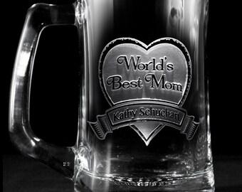 World's Best Mom Beer Mug Glass, Mother's Day Gift Ideas