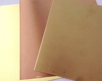 "22G Copper, Brass or Red Brass sheet  6"" x 6"" FREE SHIPPING"