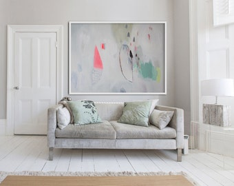 """large WHITE abstract PRINT, Giclée print of painting, pink, green, """"Her Ladyship"""""""