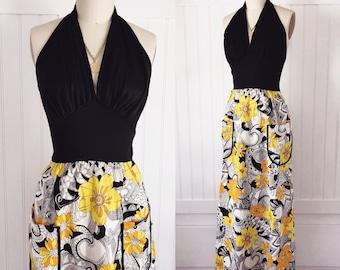 Vintage 70's halter neck deep V maxi dress with hippie dasies + pockets