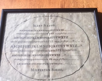 """Antique Sampler, Needlework by Mary Naftel, Milverton School, 1806-Lettering almost """"typestyle quality"""""""