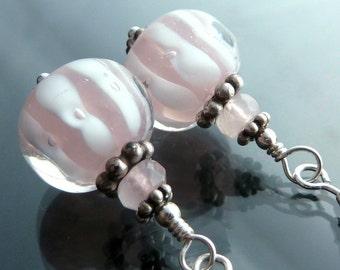 Carousel Earrings in sterling silver lampwork glass bubblegum pink and white swirls closeout sale destash OOAK jewelry