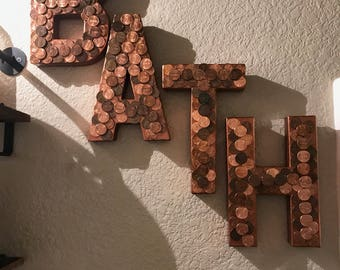 Copper penny letters