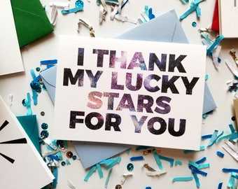 I Thank My Lucky Stars For You Thank You Card with Matching Envelope