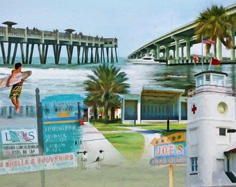 Via A1A, Jacksonville Beach, Florida, Pier, Bridge, Red Cross Lifeguard Station, Surfer, Beach, Coastal Art, Beach Decor, Seaside, Ocean