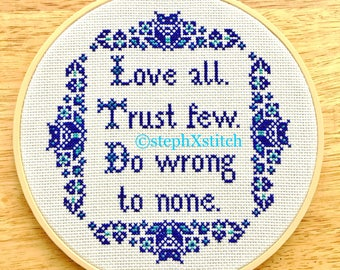 Cross Stitch Pattern Love All Trust Few Do Wrong To None Shakespeare Quote Crossstitch Folk Border Instant Download PDF