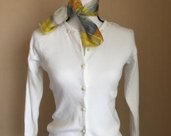 50's/60's vintage white cotton cardigan