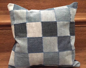 Upcycled Blue Jeans with Navy Blue Fabric Pillow