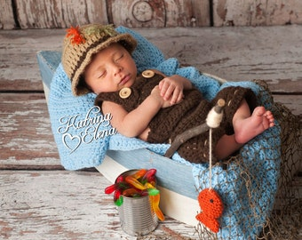 New- Fisherman Newborn Photo Prop/ Newborn Fisherman Overalls/ Fisherman Photo Prop with Fish/ Newborn Bucket Hat