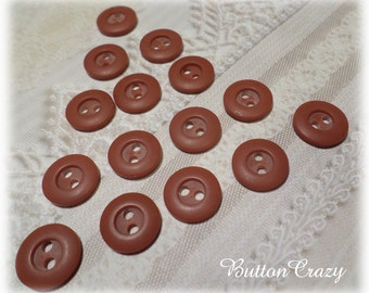 15 Small BROWN VINTAGE Buttons