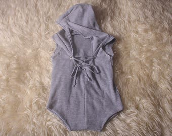 Unisex Baby sleeveless,short legged,hoodie romper,Light marl grey,stretch ribbed jersey,eyelets at neck lace up feature,UK handmade by me.