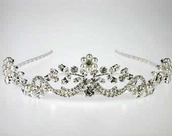 Wedding Tiara - Pearl and Crystal Tiara - Georgina Bridal Tiara with Rhinestones and Pearls - Bridal Headpiece - Wedding Accessories