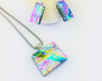 Sterling Silver and Fused Glass jewellery set, Dichroic fused glass pendant an drop earring set, sterling silver drop earrings, and necklace