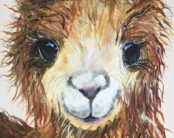 LLAMA PAINTING, baby shower, veterinary office, baby nursery, nursery art, llama, baby llama, llama art,
