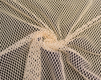 """Tan 58"""" Fish Net Lace Fabric by the Yard - Style 461"""