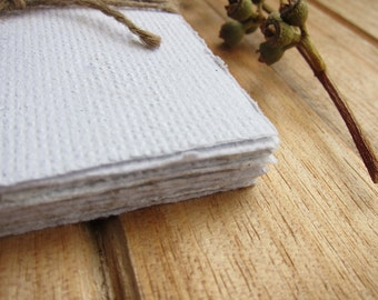 "16 Handmade paper sheets, White Recycled paper, Natural Eco wedding paper, Textured paper, Homemade paper, Note paper, 3"" x 4 "", 7.5 x 10.5"