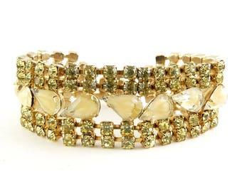 1960's D&E Juliana Jonquil Yellow and Caramel Givre Rhinestones 5-Row Bracelet