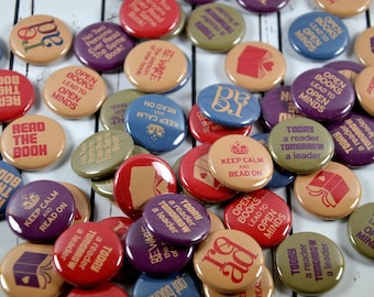 20 Reading Related Pin Back Badges, Bookworm Badges, 1 Inch Button, Book Club Gifts