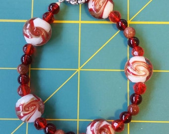 Holiday Blown Glass Beaded Bracelet