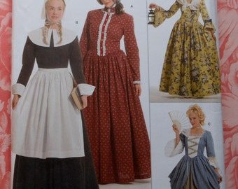 Colonial Dress Gown Costume Sewing Pattern UNCUT Simplicity 9891 Sizes 14-22 reenactment