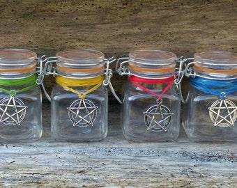 Elemental bottles, witches potion jars, magic potion bottles, sorcerer's bottles, herb jars, incense storage, pagan altar decor, glass jars