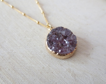 Druzy pendant gold filled necklace, round druzy necklace, druzy necklace