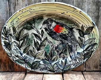 Red Winged Black Bird Platter - 18 inches
