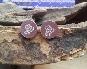 Cherry blossom  Earrings, Silver Earrings, Stud Earrings, Cherry Blossom jewelry, Gift for her