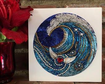 "Beaded Mosaic Art on Wood - ""HeartSwept"" - Ocean Heart Theme Original Art"