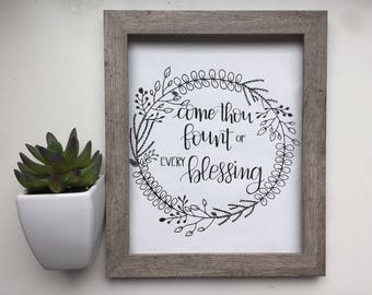Come Thou Fount of Every Blessing Black and White Floral Wreath Printable Instant Download