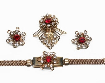 Vintage Ruby Red Rhinestone and Clear Rhinestone Parure Brooch, Bracelet, Clip On Earrings Set Gold Tone 1950's Bracelet Photo Holder Flower